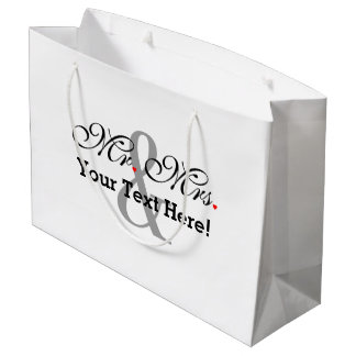 Personalized Mr. and Mrs. Plus Customizable Color Large Gift Bag