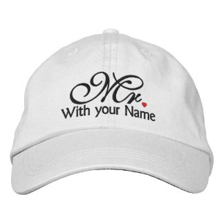 Personalized Mr. Husband Groom His Hers Newly Weds Embroidered Hat