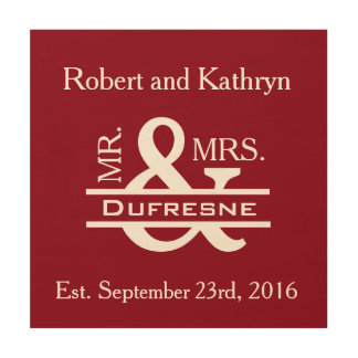 Personalized Mr & Mrs Red Wood Wall Art