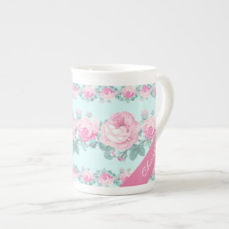 Personalized mug shabby chic floral gift for her