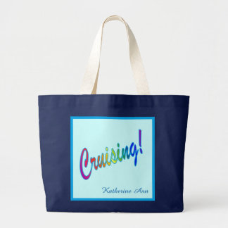 Personalized Multicolored Cruising Large Tote Bag
