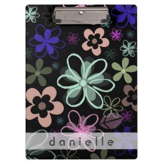 Personalized Multicolored Flower Clipboard