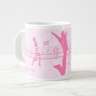 Personalized Music Dance and Drama Pink Large Coffee Mug
