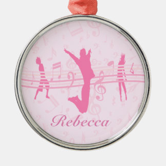 Personalized Music Dance and Drama Pink Silver-Colored Round Decoration
