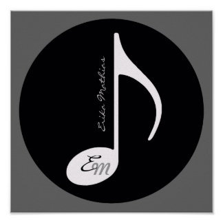 personalized music note black idea poster