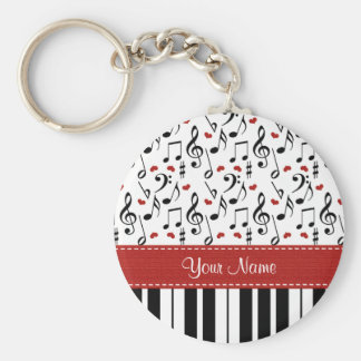 Personalized Music Note Piano Keychain