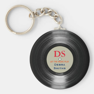 personalized music vinyl record basic round button key ring