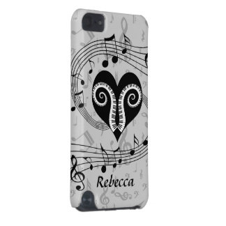 Personalized Musical notes heart and piano keys iPod Touch 5G Covers