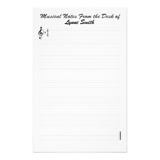 Personalized Musical Notes Stationery Design