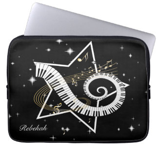 Personalized Musical Star golden notes Laptop Sleeve