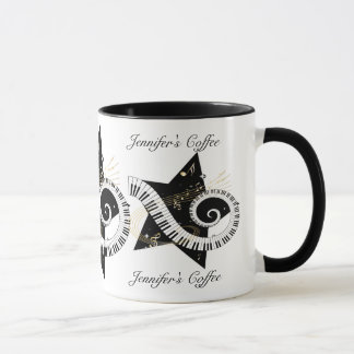 Personalized Musical Star golden notes Mug