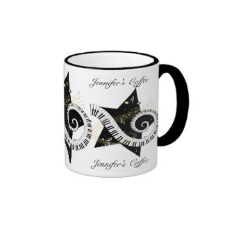 Personalized Musical Star golden notes Coffee Mugs