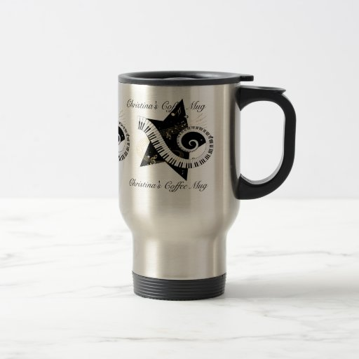 Personalized Musical Star golden notes Mugs