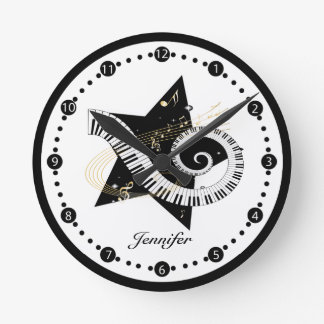 Personalized Musical Star Golden Notes Round Clock