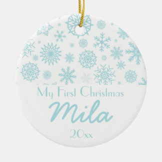Personalized My First Christmas Winter Snowflake 3 Christmas Ornament