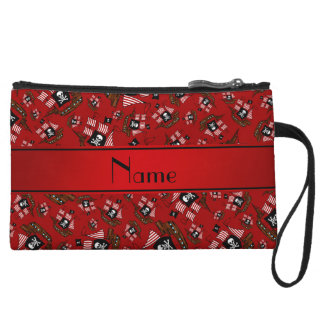 Personalized nam red pirate ships wristlet clutches