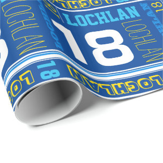 Personalized name 18th birthday sport wrap wrapping paper