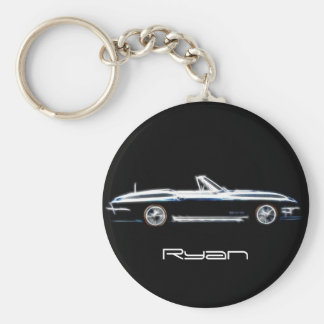 Personalized name 1965 Chevrolet Corvette Stingray Basic Round Button Key Ring