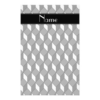 Personalized name 3d black squares stationery