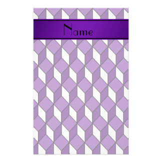 Personalized name 3d purple squares stationery