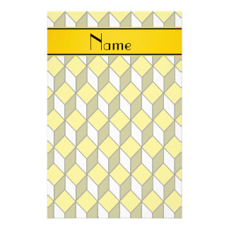 Personalized name 3d yellow squares stationery