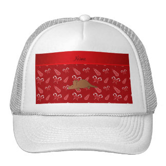 Personalized name aardvark red candy canes snowmen cap