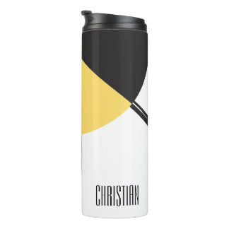 Personalized, Name, Abstract Art yellow blue black Thermal Tumbler