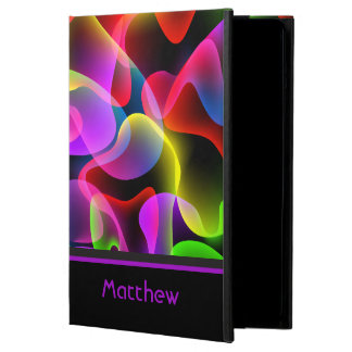 Personalized Name Abstract Neon Lava Swirls Cover For iPad Air