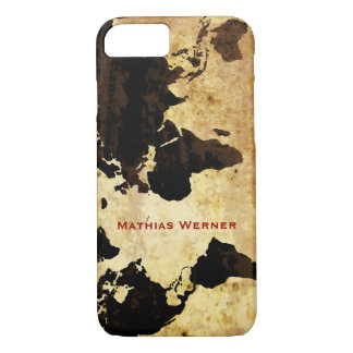 personalized name aged world map iPhone 7 case