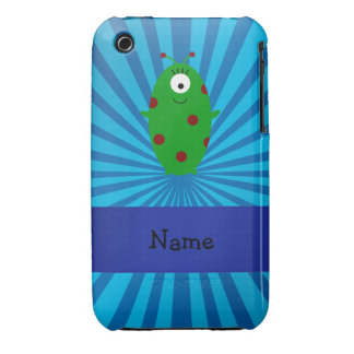 Personalized name alien blue sunburst iPhone 3 Case-Mate cases