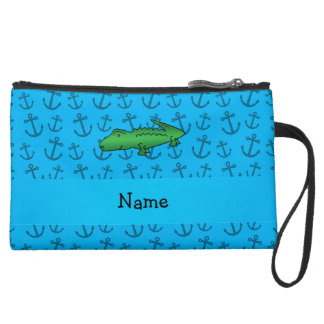 Personalized name alligator blue anchors pattern wristlet purses