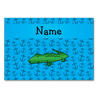 Personalized name alligator blue anchors pattern table cards