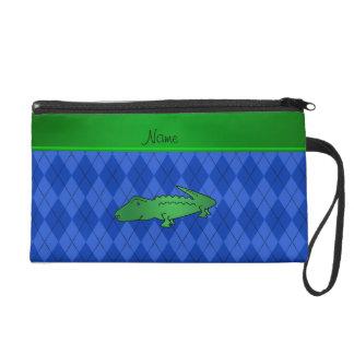 Personalized name alligator blue argyle wristlet purse