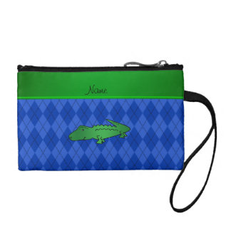 Personalized name alligator blue argyle coin wallet