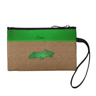 Personalized name alligator brown geometric change purse