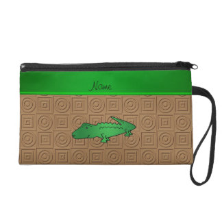 Personalized name alligator brown geometric wristlet clutch