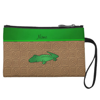 Personalized name alligator brown geometric wristlet clutches