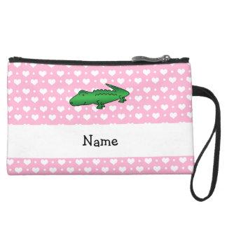 Personalized name alligator pink hearts polka dots wristlet