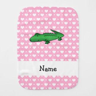 Personalized name alligator pink hearts polka dots burp cloth
