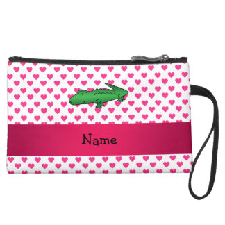 Personalized name alligator pink hearts polka dots wristlet purse