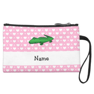 Personalized name alligator pink hearts polka dots wristlet purses