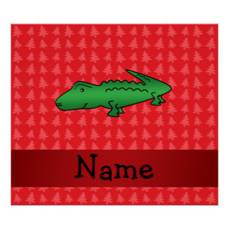 Personalized name alligator red christmas trees posters