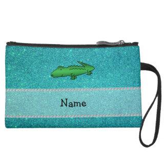 Personalized name alligator turquoise glitter wristlets