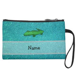 Personalized name alligator turquoise glitter wristlet clutches