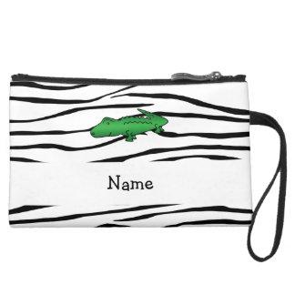 Personalized name alligator zebra stripes wristlet purse