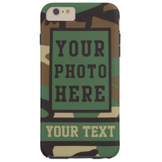 Personalized Name and Photo Camouflage Pattern Tough iPhone 6 Plus Case