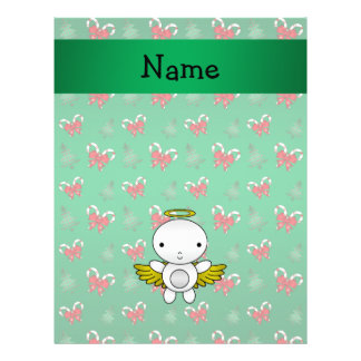 Personalized name angel green candy canes bows personalized flyer