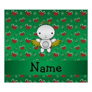 Personalized name angel green candy canes bows posters