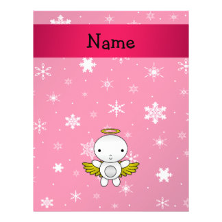Personalized name angel pink snowflakes 21.5 cm x 28 cm flyer