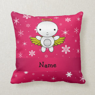 Personalized name angel pink snowflakes throw cushions